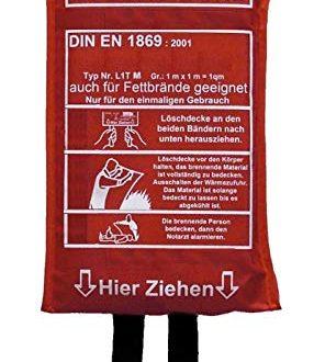 Loeschdecke Brandschutzdecke 1 x 1 m DIN EN 18692001 auch 286x330 - Löschdecke Brandschutzdecke 1 x 1 m, DIN EN 1869:2001, auch für Fettbrände Fettbrand Küche Feuerlöschdecke Auto 100 x 100 cm 1 Stück